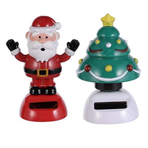 Amosfun Christmas Santa Claus Shaking Head Ornaments Christmas Tree Car Decoration Dashboard Solar Ornaments 2pcs