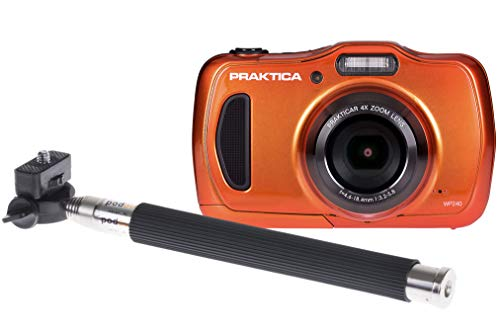 PRAKTICA Luxmedia Waterproof WP240 Orange Camera inc Free Selfie Stick