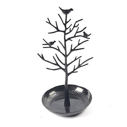 JIAGU Soporte de joyería Pulsera árbol Pendiente del Collar del Metal del Soporte de exhibición de joyería Organizador Torre (Color : Black, Size : 15 * 30cm)