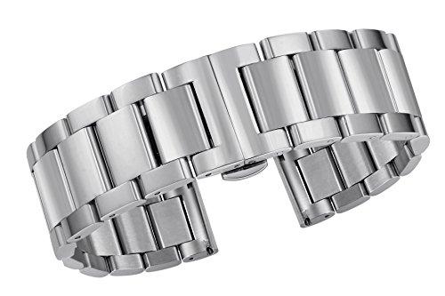 Banda de Reloj de Metal sustitución de la Banda de Acero Inoxidable de 18 mm sólidos con Hebilla desplegable