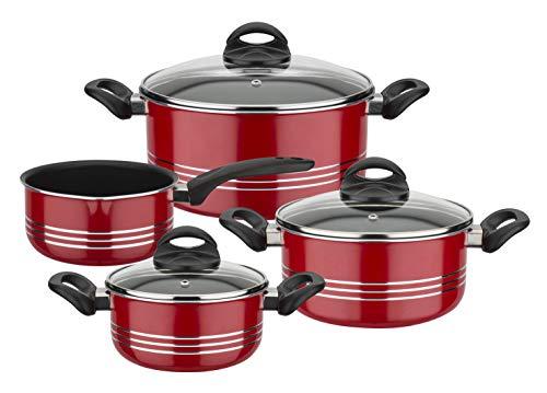 GSW 158602 Milano Color - Batería de cocina (4 piezas, aluminio, plástico, cristal), color rojo
