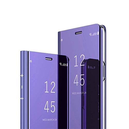 Hnzxy Kompatibel mit Samsung Galaxy M20 Hülle Handytasche,Handyhülle für Galaxy M20 Überzug Spiegel Hülle Clear View Flip Case Wallet Tasche Cover Magnet Schutzhülle Lederhülle Etui,Lila