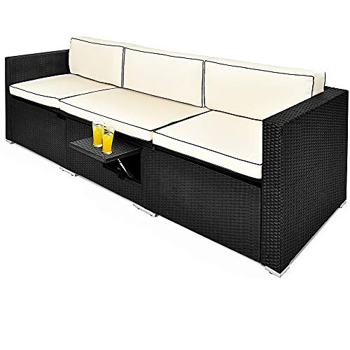 Casaria Divano Lounge 2+1 in Polyrattan Imbottiture Spesse 20cm Schienale inclinabile in 6 Posizioni Tavolino Pieghevole Resistente ai Raggi UV e agli Agenti Atmosferici Sdraio Prendisole