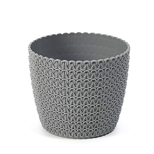 Lamela Blumentopf Übertopf Pflanztopf Strickstruktur (Ø) 10,5 cm Grau