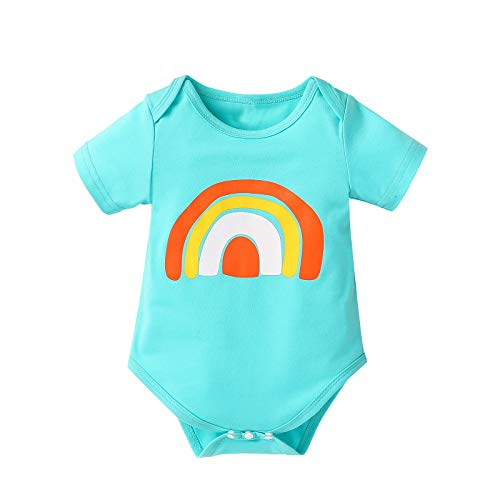 Baby Romper,Newborn Infant Baby Boy Girl Short Sleeve Rainbow Print Romper Bodysuit Outfits
