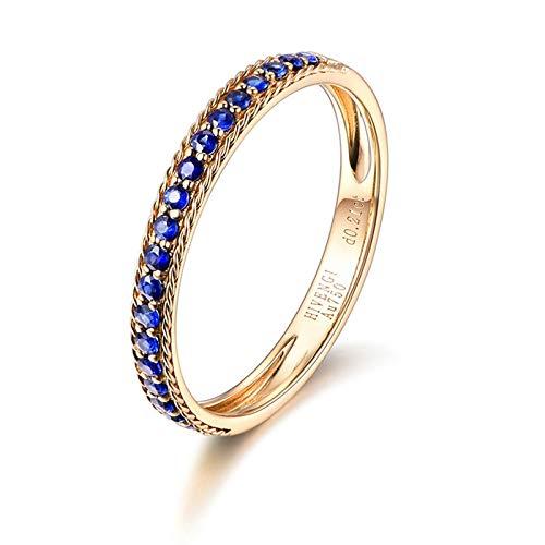 ANAZOZ Echtschmuck Damen Ring 18 Karat Gelbgold Einfacher Dünner Bandring Ringe für Frauen 0.21ct Saphir Verlobungsring Ehering Ringe Größe 52 (16.6)