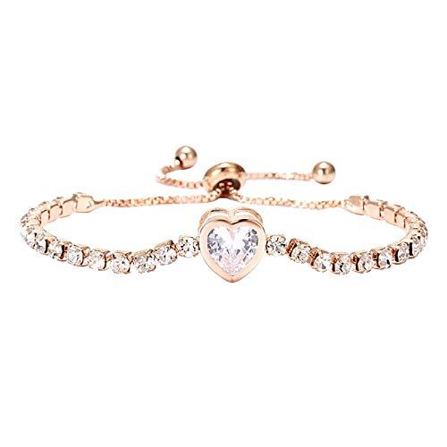SDCAJA Women Bracelet Adjustable Chain Bracelet Rhinestone Crystal Cuff Bangle Fashion Jewelry Valentine's Day Gift