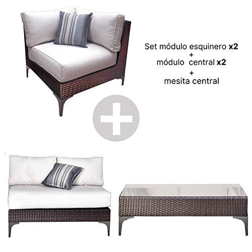 MOMMA HOME Conjunto Muebles de Jardín Ratán - Módulo esquinero + 2 Módulos centrales + Módulo esquinero + Mesa de Centro - Muebles para terraza/Exterior - Set de Ratán Sintético - Modelo Santo