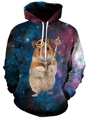 Ocean Plus Herren 3D Kapuzenpullover Hoodie Halloween Cosplay Sweatshirt Hooded Sweat Einzigartig Galaxie Pullover (S/M (Brustumfang: 112-132CM), Hamsterkönig)