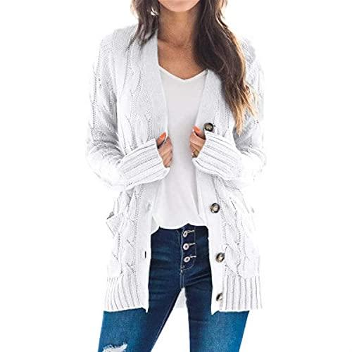 yueyouhuyou cárdigan para Mujer Mujeres de Gran tamaño Cardigan Punto Lindo suéteres Chunky Wrap Wrap Off Open Front Punto de Punto Suelto y cómodo (Color : White, Size : Medium)
