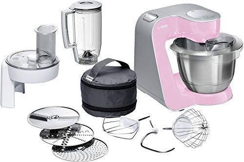 Bosch MUM58K20 CreationLine, Procesador de alimentos (1000 W, 3, 9 l, recipiente de mezcla de acero inoxidable, trituradora continua, accesorio para licuadora), rosa plateado (rosa)