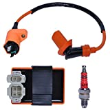 150cc GY6 CDI Ignition Coil Racing for Compatible with Go Kart ATV 4-stroke Engines 50cc 125cc with Spark Plug Pit Dirt Bike Parts 6 Pin CDI Performance