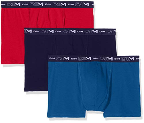 Dim Coton Stretch Boxer X3, Multicolor (Rouge Baiser/Bleu Antique/Bleu Crepuscule 87e), Large (Talla del Fabricante: 4) (Pack de 3) para Hombre