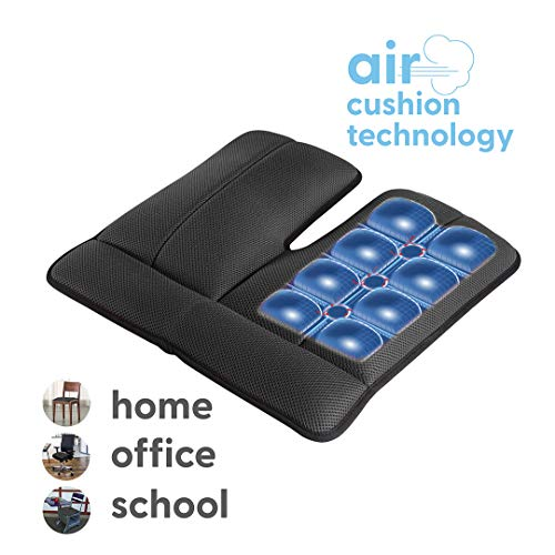 Dr. air Seat Cushion, Non-Slip Orthopedic Support Cushion, Back, Sciatica, Coccyx and Tailbone Pain, Home, Office, School, Kitchen, Car (Black)