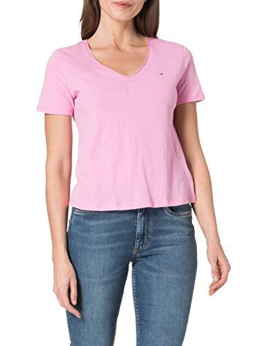 Tommy Jeans Damen TJW Slim Jersey V Neck T-Shirt, Rosa/Gänseblümchendesign, XS
