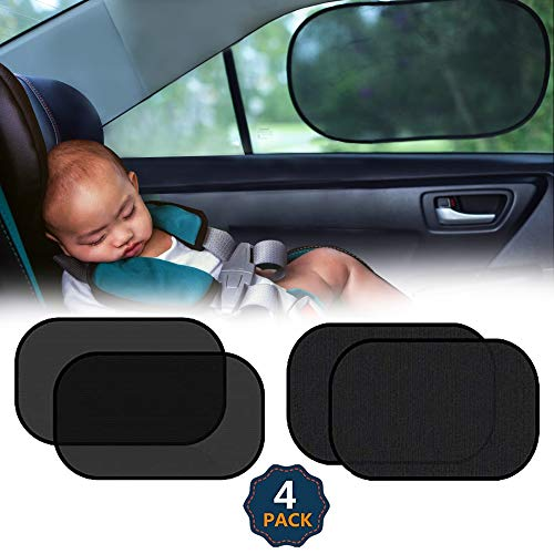 "EcoNour Car Shades for Side Windows Baby | Complete Sun Protection Car Window Covers for Privacy Blackout | UV Protection Baby Sunshade for Car Window | Back Shade Blocks Sun Glare 20""x12"" (4 Pack)"