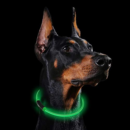 Collares LED para Perros, GeeRic Luminous Dog Collar Safe Dog Collar LED Recargable Ajustable Impermeable USB Luminoso Collar con 3 Modos Luminosos para Mascotas Tamaño 60cm