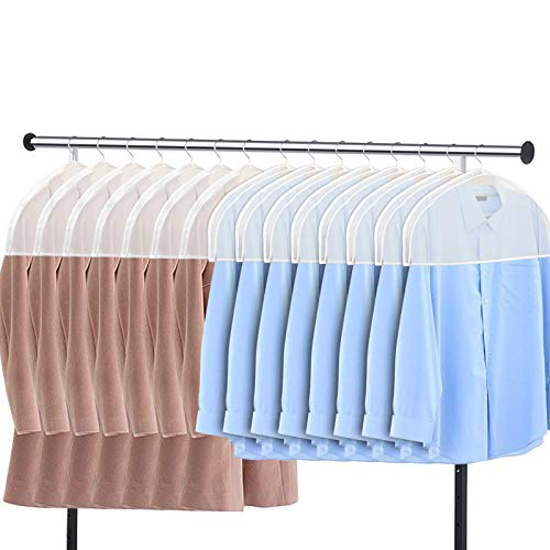 Zilink Shoulder Covers for Clothes (Set of 15) Breathable Garment Dust Covers Protectors with 2' Gusset for Suit, Coats, Jackets, Dress Closet Storage