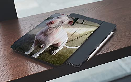 MEMETARO Funda para iPad 10.2 Pulgadas,2019/2020 Modelo, 7ª / 8ª generación,American Pitbull Terrier Blanco Blanco Pit-Bull Smart Leather Stand Cover with Auto Wake/Sleep