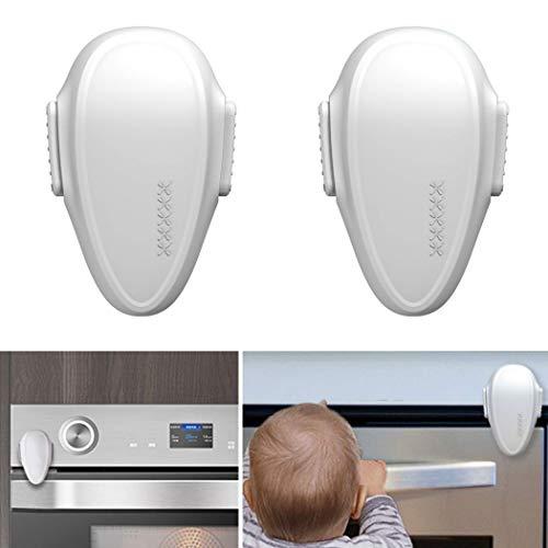 Backofentür Kindersicherung, 2er Set Ofentür Sperre zum Kleben, Doppel-Druck-Knopf, spezieller hitze-resistenter Kleber, universal verwendbar auf glatten Oberflächen, Rückstand-los entfernbar