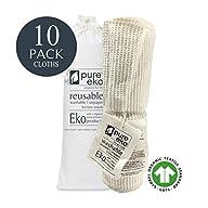 🌎 Large Reusable Un-paper Towels, Eco Friendly, Multi-use 100% Organic Cotton Cloths. Biodegradable, Washable, Reusable…