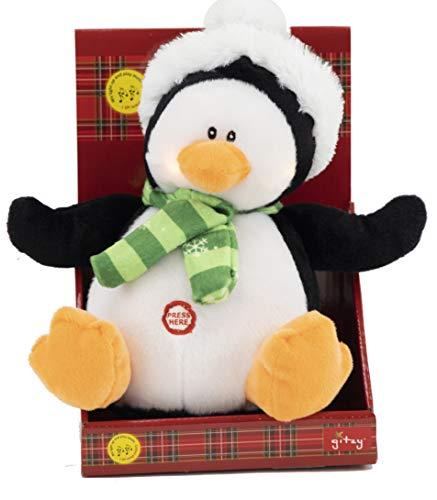 Gitzy Plush Holiday Friends - Animated Christmas Plush Toy - Light Up Stuffed Animal with Music - Singing Plushie for Kids - Holiday Decor (Penguin)