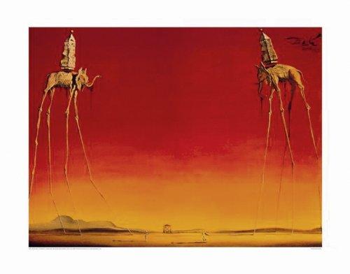 Close Up Salvador Dali Kunstdruck Les Elephants (80cm x 60cm) + Ü-Poster