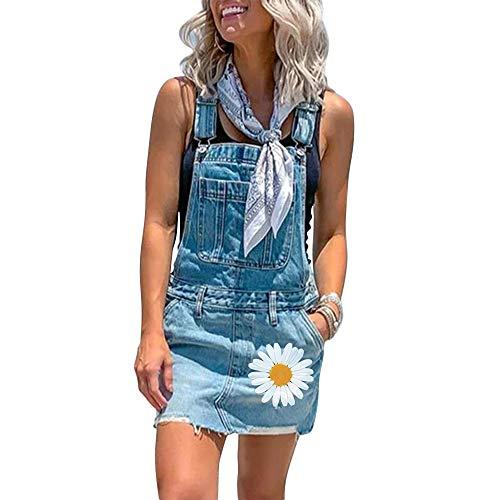 Shujin - Vestido vaquero para mujer de verano, falda vaquera, falda vaquera, minifalda ajustable, con tirantes azul claro XXL