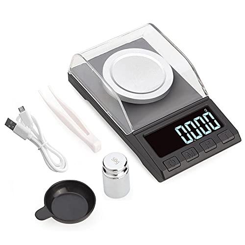50 g / 100 g * 0,001 g Mini-Taschen-Digitalwaage für Gold-Sterling-Silber-Schmuckwaage USB-Hochpräzise elektronische Waagen50G