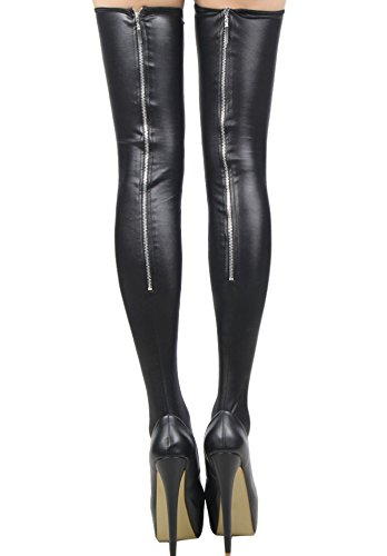 Sexy Black PVC Wet Look Zip Stockings Gothic Goth Roleplay Size M 8 10 12 14 16