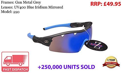 RayZor Rayzor Professionelle Leichte UV400 Gun Metal Grau Sports Wrap Laufen Sonnenbrille, Mit Einer 1 Stück Blau Iridium Widergespiegeltes Objektiv.