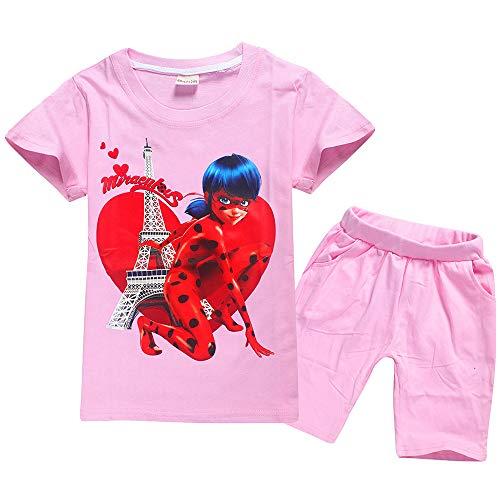 Miraculous Ladybug Sudadera Conjuntos de impresión de Dos Piezas encantadores de Verano Camiseta de Manga Corta con Cuello Redondo + Pantalones de algodón Miraculous Ladybug Pullover