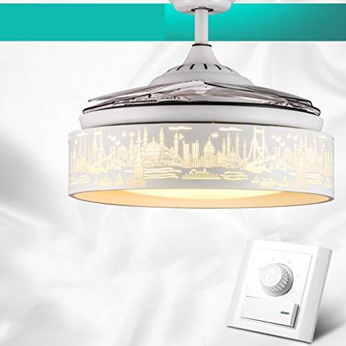 Marine World Shades Plafondventilator, licht, huishoudelijk, eenvoudig, stealth fan verlichting in de woonkamer, slaapkamer, restaurant, moderne en eenvoudige modieuze kroonluchter met afstandsbediening, motorcomfort en Le Fernbedienung Trichromatisch licht