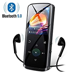 【Multi-functional Music Player】The mp3 player designed with music playing, Bluetooth 5.0 connection, built-in speaker, FM radio, voice recording, E-book reading(TXT file), video playing(128*160 AMV AVI converted video), photo Browsing, Screensaver, A...