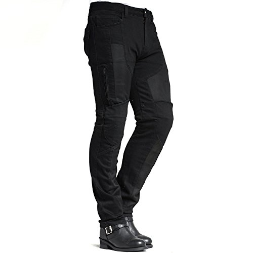 MAXLER JEAN Summer Biker Jeans for men - Slim Straight Fit Motorcycle Riding Pants, 1614 Black (Size 34)