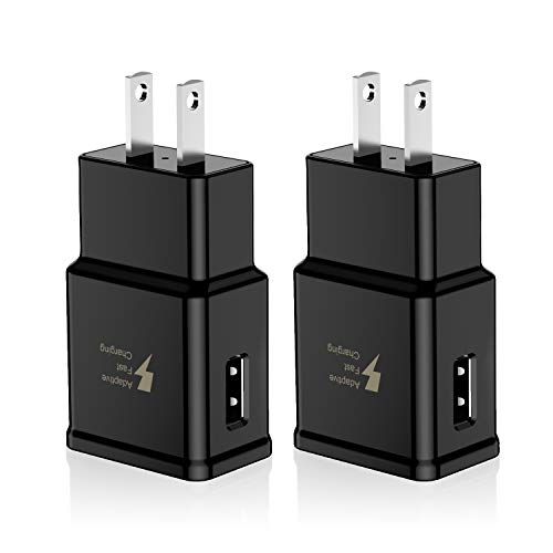 Adaptive Fast Charging Wall Charger Adapter Compatible Samsung Galaxy S6 S7 S8 S9 S10 / Edge/Plus/Active, Note 5,Note 8, Note 9,LG G5 G6 G7 V20 V30 ThinQ Plus EP-TA20JBE Quick Charge (2 Pack)