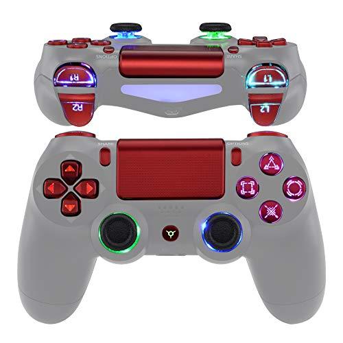 eXtremeRate Tasten für PS4 Knöpfe D-Pad Trigger Thumbsticks DTFS LED Kit für Playstation 4 Controller CUH-ZCT2[Kein Controller](Klassische Symbole Leuchttaste-Rot)-DTF 2.0