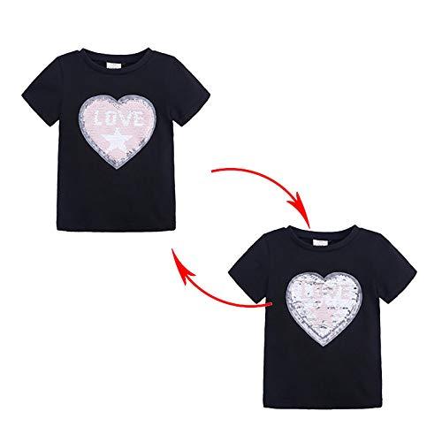 Camisetas de princesa con lentejuelas personalizadas, súper suaves, lindas y bonitas, regalo de cumpleaños para niños (tamaño: 140/7-8 años, color: negro)