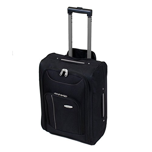 More4bagz Cabin Approved On Board Wheeled Hand Luggage Travel Trolley Flight Holdall Bag Fits Easyjet, Ryanair, BMI & Many More (Black/Grey)