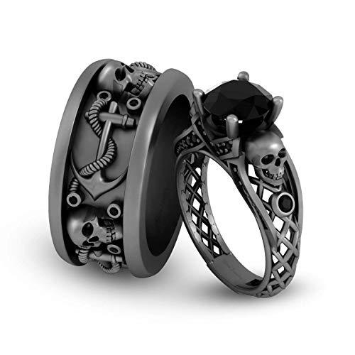 Juego de anillos de boda de oro blanco sólido de 14 quilates con diseño de calavera y diamante negro de 2,35 quilates con ancla náutica y calavera gótica para él y ella