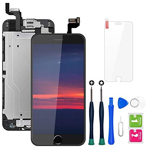 """Ecran iPhone 6s Noir 4,7"""" LCD Vitre Tactile Complet sur Châssis avec Outils de Réparation Bouton Home Caméra Frontale Capteur de Proximité Haut-Parleur et Ecran Protecteur Tout Assemblé"""