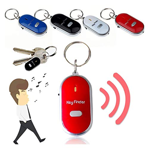 LED Whistle Anti-Lost Key Finder Find Locator Tracker Keychain Flashing Beeping Sound Control Alarm Torch Flash Keyring Tracking Device (Red)