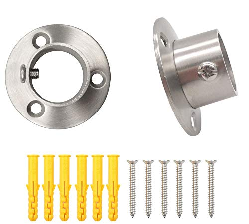 ZLYY 25mm /1 Inch Dia Shower Curtain Rod Flange Mount Socket Bracket, Satin Nickel of 2 Kit.