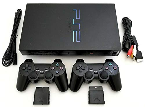 Sony PS2 Game System Gaming Console with 2 WIRELESS CONTROLLERS PLAYSTATION-2 Black (Renewed)