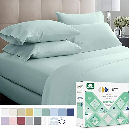 600-Thread-Count 100% Cotton Sateen Sheets King Size Set 4-Piece Seafoam Spa Blue Hotel Style Supreme bedding Sheets for Bed, Fits Mattress 16'' Deep Pocket, Breathable, Cooling & Luxury Comfy Sheets
