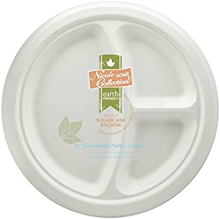 Eco-Friendly 100% Compostable Sugarcane / Bagasse Heavy Duty Plates, FDA Approved, 10 Inch, 3-Compartment Round Plate, 50 Count