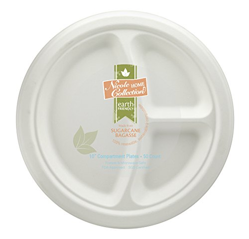 Eco-Friendly 100% Compostable Sugarcane / Bagasse Heavy Duty Plates, 10 Inch, 3-Compartment Round Plate, 50 Count