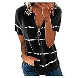 VEMOW Blusas y Camisa Mujer Vaquera Sexy Camisetas Tops Cremallera Manga Corta Tops Cuello en V, Última Moda Verano Respirable Informal Sueltas Shirts Impresión de Raya Jersey Camisa(S1 Negro,XXL)