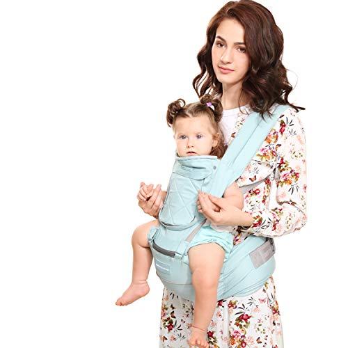 Windsleeping Kleinkinder Baby Carrier mit Kapuze für alle Jahreszeiten, 6 Möglichkeiten zu tragen, Hip Sitz Carrier Vorder- und Rückseite, Silikon griffsicheres Sitzfläche - Blau