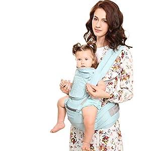 Windsleeping Porta bebés 6 en 1 con sillita ergonómica para todas las estaciones, 48″ de cintura máxima ajustable, posiciones cómodas y seguras para bebés, niños pequeños, perfecto para excursionismo